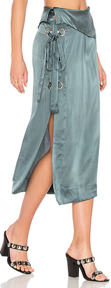 MLM Label Cairo Eyelet Skirt in Gray $275 thestylecure.com