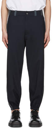 Marni Navy and Grey Cuffed Trousers