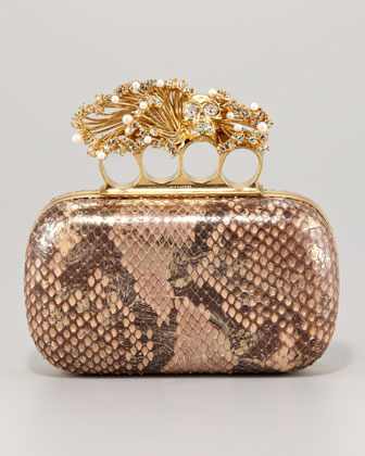 Alexander McQueen Python & Pearl Knuckle-Duster Box Clutch Bag