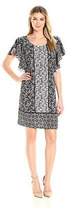 MSK Women's Novelty Knit Scarf Print Flutter Sleeve Dress