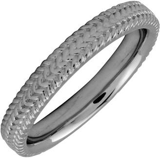 Simply Stacks Sterling Black Rhodium-Plated 3.25mm Braid Ring