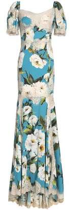 Dolce & Gabbana Lace-Trimmed Floral-Print Silk-Blend Crepe Gown
