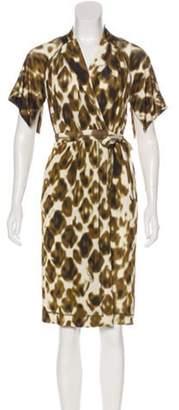Just Cavalli Abstract Print Knee-Length Dress Brown Abstract Print Knee-Length Dress