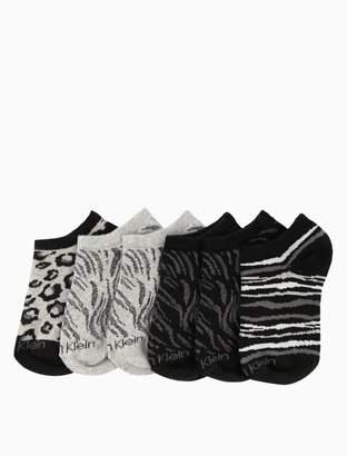 Calvin Klein girls 3-pack animal print logo no-show socks