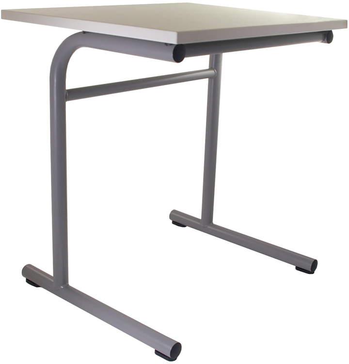 Flötotto Systemmöbel GmbH Flötotto - Pro 6 School Table (Einzelarbeitsplatz) T-Gestell, granitgrau / schneeWeiß, Kunststoffgleiter
