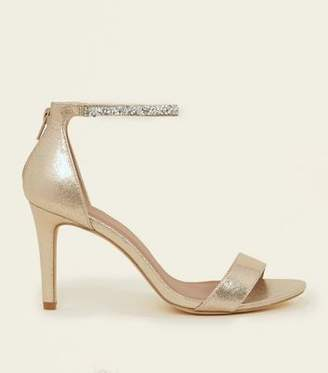 New Look Wide Fit Gold Crystal Strap Wedding Sandals