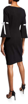 Iconic American Designer Bell-Sleeve Sheath Dress with Contrast Ribbon