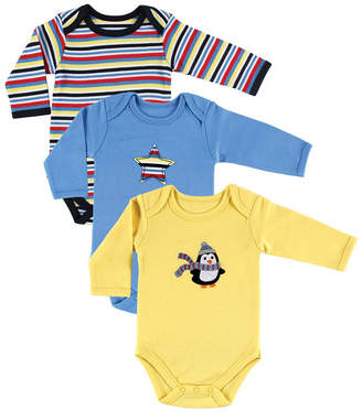 Baby Vision Hudson Baby Long Sleeve Bodysuits, 3-Pack, Penguin, 3-12 Months
