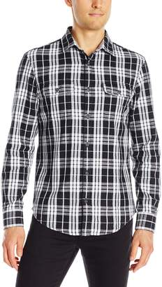 Original Penguin Men's Long Sleeve Slub Plaid Double Cloth Shirt