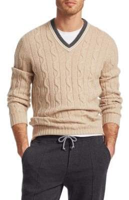 Brunello Cucinelli Cable Varsity V-Neck Sweater