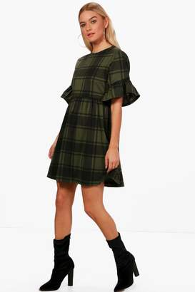 boohoo Tartan Frill Sleeve Smock Dress