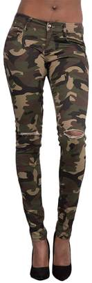 Zhhlinyuan Womens Camouflage Skinny Jeans Pants Casual Trousers Outdoor