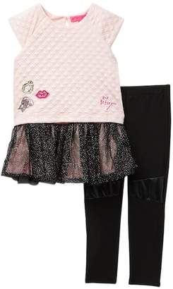Betsey Johnson Glitter Mesh Top & Leggings Set (Little Girls)