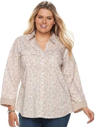 Croft & Barrow Plus Size Knit-to-Fit Roll-Tab Shirt