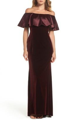 Women's Adrianna Papell Ruffle Off The Shoulder Velvet Gown $199 thestylecure.com