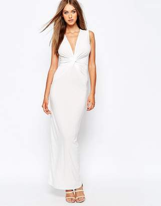 Missguided Plunge Neck White Maxi Dress