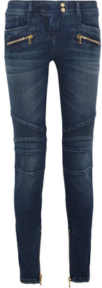 Balmain - Moto-style Mid-rise Skinny Jeans - Blue $1,310 thestylecure.com