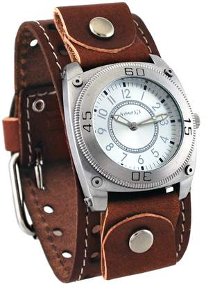 Nemesis #BSTH012S Men's Signature Dial Brown Wide Leather Cuff Watch