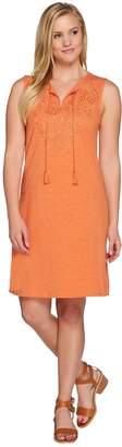 C. Wonder Slub Knit Sleeveless Dress w/ Cutout Embroidery