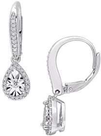 Sonatina 0.33 TCW Diamond and Sterling Silver Teardrop Dangle Earrings