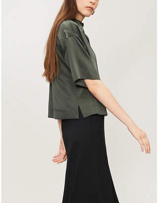 Theory Silk-satin short-sleeved shirt