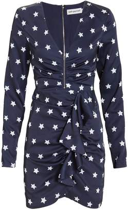 Self-Portrait Self Portrait Zip Front Star Mini Dress