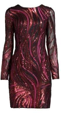Aidan Mattox Embroidered Sequined Sheath Dress