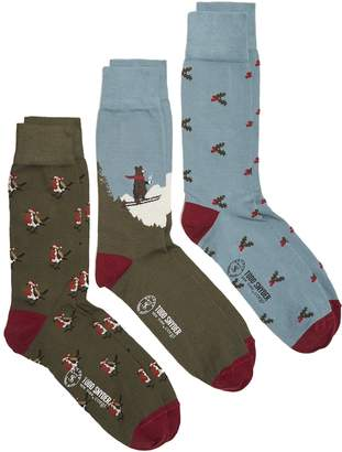 Corgi Robins, Holly & Skiing Bear Cotton 3 sock Gift Box