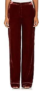 Barneys New York WOMEN'S VELVET WIDE-LEG PANTS-RUST SIZE 38 IT