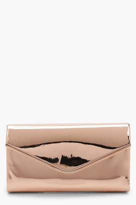 boohoo Shiny Piping Trim Envelope Clutch