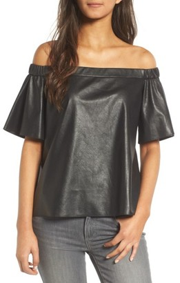 Women's Bailey 44 Off The Shoulder Faux Leather Top $218 thestylecure.com