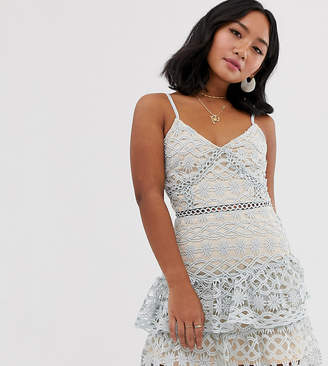 Parisian Petite cami strap lace tiered dress