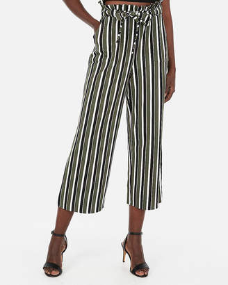 Express High Waisted Sash Tie Waist Cropped Wide Leg Pant