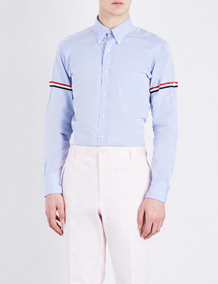 Thom Browne Classic striped-sleeves cotton-poplin shirt $380 thestylecure.com