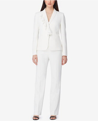 Tahari Asl Shawl-Collar Ruffled Pantsuit $290 thestylecure.com