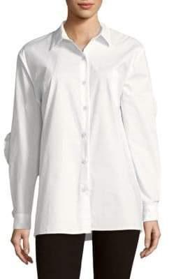 Cutout Cotton Button-Down Shirt