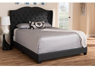 Baxton Studio Aden Modern and Contemporary Charcoal Grey Fabric Upholstered Queen Size Bed