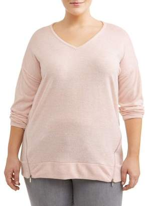 French Laundry Women's Plus Size Hi-Lo V Neck Top with Zipper Sides