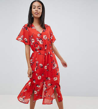 Missguided Tall Floral Button Front Midi Dress