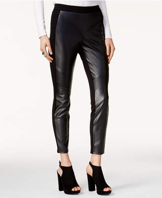 Bar III Faux Leather & Stretch Pants