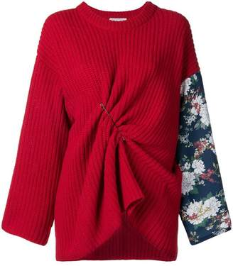 Act N°1 floral sleeve draped sweater