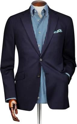 Charles Tyrwhitt Slim Fit Navy Textured Stretch Cotton Cotton Blazer Size 36