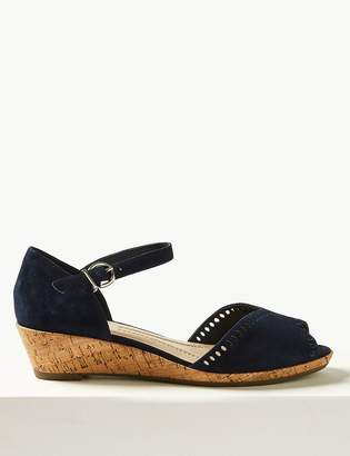 dad0eaeae3dc M S CollectionMarks and Spencer Suede Wedge Heel Ankle Strap Sandals