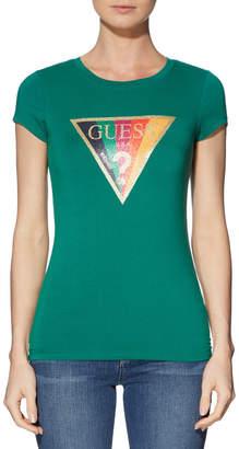 GUESS Short Sleeve Rainbow Glitter R3 Tee