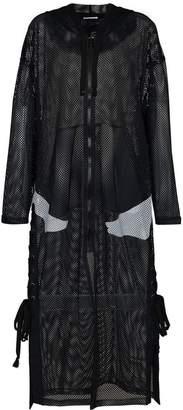 Faith Connexion x Kappa logo print hooded mesh coat