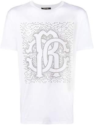 Roberto Cavalli studded heraldic style logo T-shirt