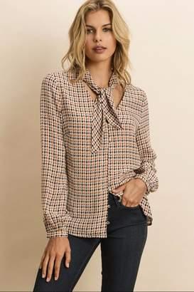 Dress Forum Geometric Tie-Collared Blouse
