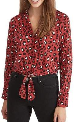 Miss Selfridge Animal-Print Button-Down Shirt