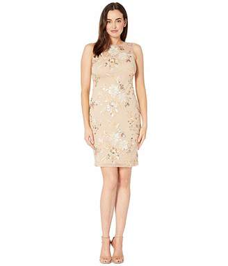 Calvin Klein Embroidered Sheath Dress with Illusion Neck