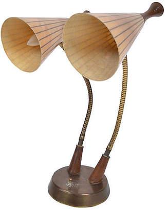 One Kings Lane Vintage Danish Modern Dual Table Lamp Walnut - Galleria d'Epoca